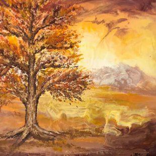 Artist: Vivian MacCallum  Title: Autumn Glory  Medium: Encaustic  Price: $45 Estimated Size: 8x10