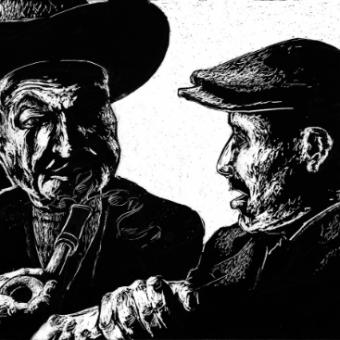 Vince Kanarek 'oldmen conversation' scratch art
