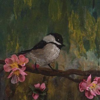 Vivian McCallum 'Chickadee' encaustic