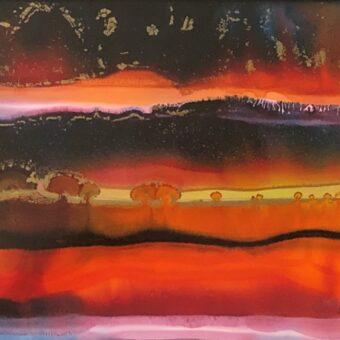 Darlene Bartman 'Morning Sunrise' alcohol ink 8 x 10 - Copy