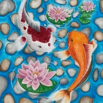 Amber Scarlett swimming koi fish gouache