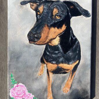 amber Scarlett beloved dog portrait acrylic
