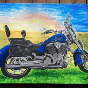 amber Scarlett motorcylce acrylic